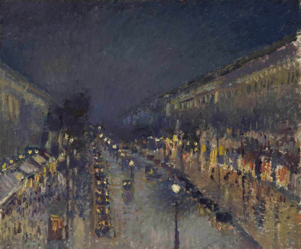 Full title: The Boulevard Montmartre at Night Artist: Camille Pissarro Date made: 1897 Source: http://www.nationalgalleryimages.co.uk/ Contact: picture.library@nationalgallery.co.uk Copyright © The National Gallery, London